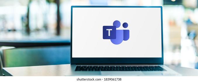 POZNAN, POL - SEP 23, 2020: Laptop computer displaying logo of Microsoft Teams, a unified communication and collaboration platform