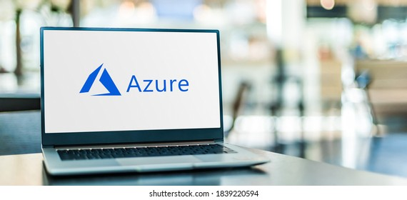 POZNAN, POL - SEP 23, 2020: Laptop computer displaying logo of Microsoft Azure, a cloud computing service  for building, testing, deploying, and managing applications and services