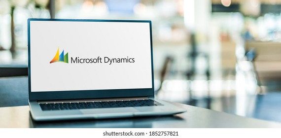 POZNAN, POL - SEP 23, 2020: Laptop computer displaying logo of Microsoft Dynamics, a line of enterprise resource planning (ERP) and customer relationship management (CRM) software applications