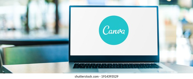 POZNAN, POL - SEP 23, 2020: Laptop computer displaying logo of Canva, a graphic design platform, used to create social media graphics, presentations, posters, documents and other visual content