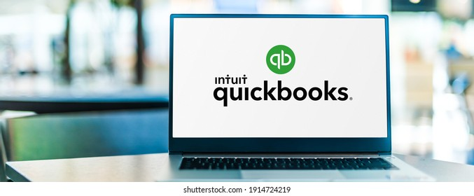 POZNAN, POL - SEP 23, 2020: Laptop computer displaying logo of QuickBooks, an accounting software package developed and marketed by Intuit