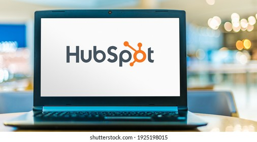 POZNAN, POL - SEP 23, 2020: Laptop computer displaying logo of HubSpot, an American developer and marketer of software products for inbound marketing, sales, and customer service