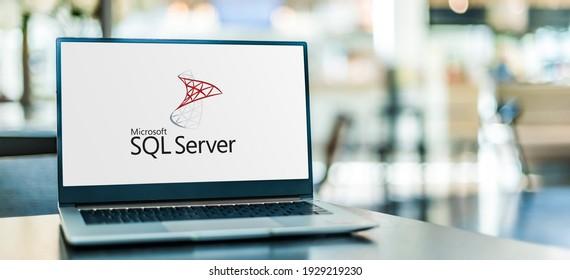 POZNAN, POL - SEP 23, 2020: Laptop computer displaying logo of Microsoft SQL Server, a relational database management system developed by Microsoft