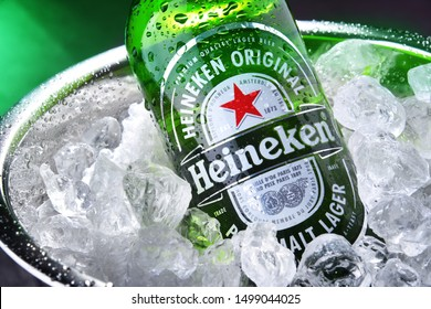 POZNAN, POL - SEP 4, 2019: Bottle of Heineken Lager Beer, the flagship product of Heineken International which owns over 125 breweries in more than 70 countries
