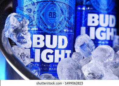 POZNAN, POL - SEP 4, 2019: Bottles of Bud Light beer, an American light beer, produced by Anheuser-Busch, introduced in 1982.