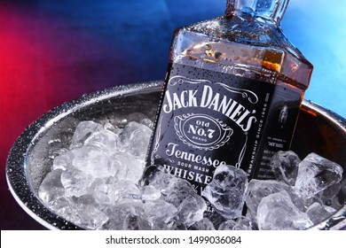 POZNAN, POL - SEP 5, 2019: Bottle of Jack Daniel's, a brand of the best selling American whiskey in the world,  produced by the Jack Daniel Distillery and owned by the Brown-Forman Corp. since 1956
