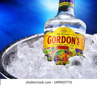 POZNAN, POL - SEP 5, 2019: Bottle of Gordon's London Dry, a brand of the world's best selling London Dry gin. It is owned by the British spirits company Diageo.