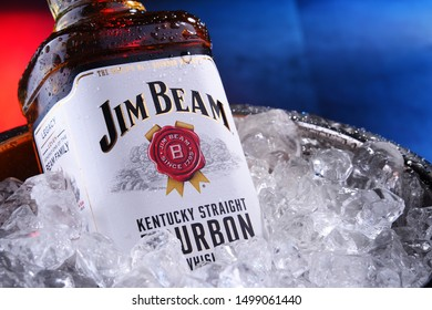 POZNAN, POL - SEP 5, 2019: Bottle of Jim Beam, one of best selling brands of bourbon in the world, produced by Beam Inc. in Clermont, Kentucky