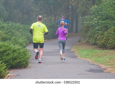 POZNAN, POLAND - 1. OCTOBER 2016. Parkrun in Poznan in Cytadela Park.  Free weekly timed runs all over the world. Held on weekend mornings, open to all  from juniors and first timers to Olympians
