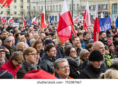 Poznan, Poland - 12.19.2015: Protest against violation the constitutional law in Poland, by the conservative party and government. Defending the division of powers. Anti nationalism demonstration.