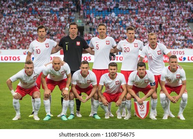 Poznan, Poland. 8th June, 2018. International Football friendly match: Poland v Chile 2:2. Team of Poland before the match .