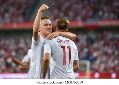 Poznan, Poland. 8th June, 2018. International Football friendly match: Poland v Chile 2:2.  Piotr Zielinski (L) and Kamil Grosicki (R) joy after scoring goal.
