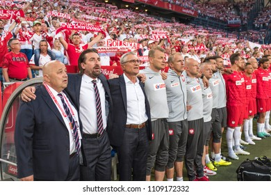 Poznan, Poland. 8th June, 2018. International Football friendly match: Poland v Chile 2:2. Coaching staff from left Tomasz Iwan (2), head coach Adam Nawalka (3).