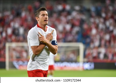 Poznan, Poland. 8th June, 2018. International Football friendly match: Poland v Chile 2:2. Robert Lewandowski joy after scoring goal.