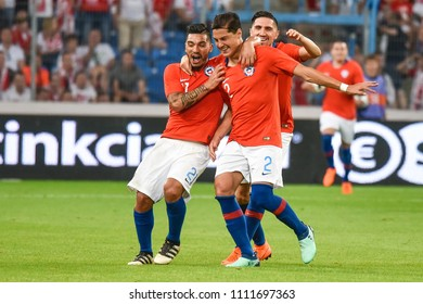 Poznan, Poland. 8th June, 2018. International Football friendly match: Poland v Chile 2:2.  Lorenzo Reves (21) and Miiko Albornoz (2) joy after scoring goal.