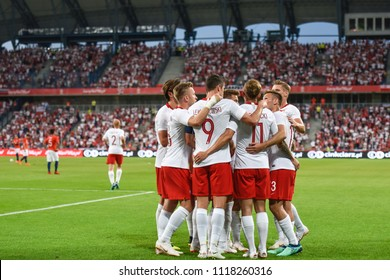 Poznan, Poland. 8th June, 2018. International Football friendly match: Poland v Chile 2:2.  Team of Poland joy after scoring goal.