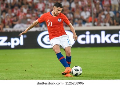 Poznan, Poland. 8th June, 2018. International Football friendly match: Poland v Chile 2:2. In action Diego Valdes.