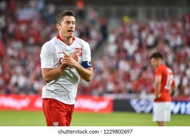 Poznan, Poland. 8th June, 2018. International Football friendly match: Poland v Chile 2:2. Robert Lewandowski joy after scoring goal.