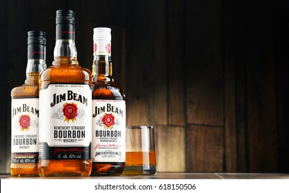 POZNAN, POLAND - APR 7, 2017: Jim Beam is one of best selling brands of bourbon in the world, produced by Beam Inc. in Clermont, Kentucky.