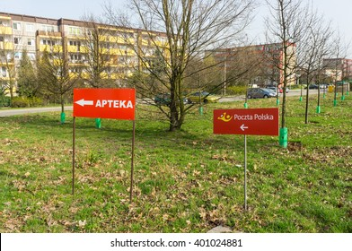 POZNAN, POLAND - APRIL 04, 2016: Sign showing the way to the Polish post office