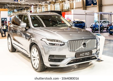 Poznan, Poland, April 05, 2018: metallic silver Volvo XC90 at Poznan International Motor Show, big-size luxury crossover SUV manufactured and marketed by Volvo Cars