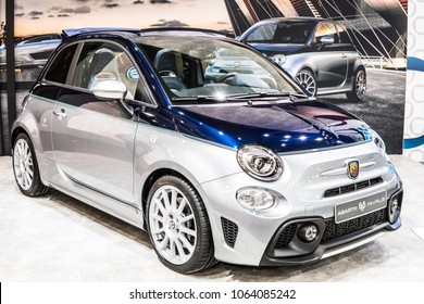 Poznan, Poland, April 05, 2018: metallic silver blue Fiat 500 Abarth 695 Rivale at Poznan International Motor Show, manufactured and marketed by Fiat Chrysler Automobiles