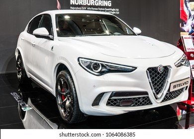 Poznan, Poland, April 05, 2018: metallic white Alfa Romeo Stelvio at Poznan International Motor Show, Type 949 is all wheel drive compact luxury crossover SUV manufactured by Alfa Romeo