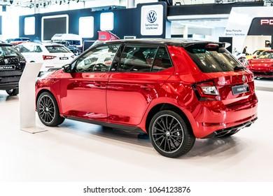 Poznan, Poland, April 05, 2018: metallic red Skoda FABIA FL at Poznan International Motor Show, produced by Czech automobile manufacturer Skoda Auto