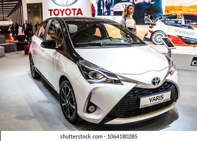 Poznan, Poland, April 05, 2018:  metallic white Toyota Yaris at Poznan International Motor Show, produced by Japanese automaker Toyota