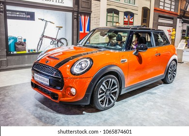 Poznan, Poland, April 05, 2018:  modern Mini Cooper S Hatch 3-d at Poznan International Motor Show, MINI is British automotive marque, owned by BMW since 2000