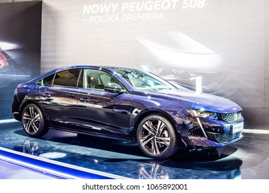 Poznan, Poland, April 05, 2018: metallic purple blue new Peugeot 508 First Edition at Poznan International Motor Show- car produced by Peugeot - French car manufacturer, part of Groupe PSA