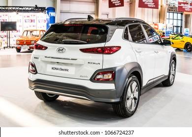 Poznan, Poland, April 05, 2018: metallic white Hyundai Kona Electric at Poznan International Motor Show produced by South Korean automotive manufacturer Hyundai