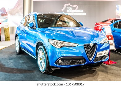 Poznan, Poland, April 05, 2018: metallic blue Alfa Romeo Stelvio at Poznan International Motor Show, Type 949 is all wheel drive compact luxury crossover SUV manufactured by Alfa Romeo