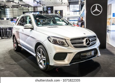 Poznan, Poland, April 05, 2018: metallic silver Mercedes Benz GLE 250 d 4Matic at Poznan International Motor Show, produced by Mercedes-Benz