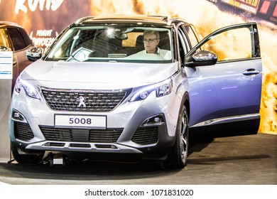 2018: Metallic Silver New Peugeot 5008 At Poznan Images, Stock ...