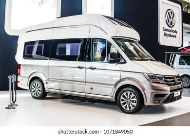 Poznan, Poland, April 05, 2018: metallic silver camper Volkswagen VW Multivan California XXL at Poznan International Motor Show, produced by German automaker Volkswagen Group