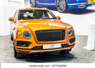 Poznan, Poland, April 05, 2018: Bentley Bentayga at Poznan International Motor Show, front-engine, all-wheel drive, five-door luxury SUV marketed by British car manufacturer Bentley