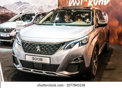 Poznan, Poland, April 05, 2018: metallic silver new Peugeot 3008 at Poznan International Motor Show- car produced by Peugeot - French car manufacturer, part of Groupe PSA