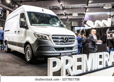 Poznan, Poland, April 05, 2018: Mercedes-Benz New Sprinter at Poznan International Motor Show, truck produced by Mercedes Benz