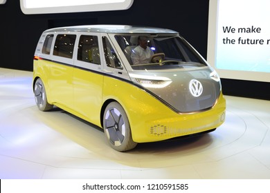 Poznan, Poland - April, 05, 2018: Volkswagen ID Buzz electric car during presentation Poznan Motor Show.