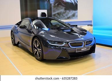 Poznan, Poland - April, 06, 2017: BMW i8 on Poznan Motor Show.