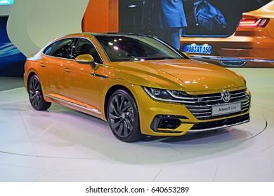 Poznan, Poland - April, 06, 2017: Volkswagen Arteon on Poznan Motor Show.