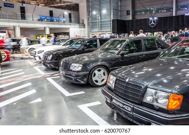POZNAN, POLAND, APRIL 06-09, 2017: MOTOR SHOW, INTERNATIONAL CAR FAIR: glossy and shiny old AMG Mercedes vehicles produced by the Mercedes-Benz company