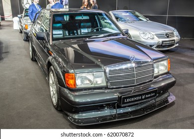 POZNAN, POLAND, APRIL 06-09, 2017: MOTOR SHOW, INTERNATIONAL CAR FAIR: glossy and shiny old classic retro Mercedes W201 E190 vehicle produced by the Mercedes-Benz company