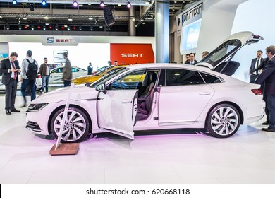POZNAN, POLAND, APRIL 06-09, 2017: MOTOR SHOW, INTERNATIONAL CAR FAIR: shiny modern auto Volkswagen VW Arteon