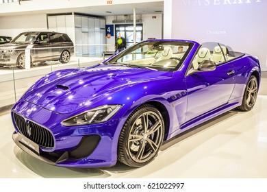 POZNAN, POLAND, APRIL 06-09, 2017: MOTOR SHOW, INTERNATIONAL CAR FAIR: shiny modern auto Maserati GranCabrio