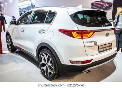 Poznan, Poland, April 06-09, 2017: MOTOR SHOW, International Car Fair: Kia Sportage GT Line - shiny modern auto