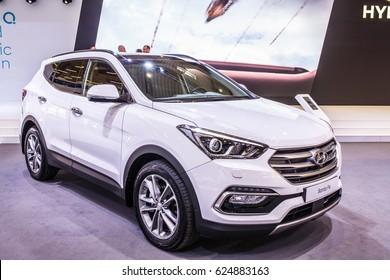 Poznan, Poland, April 06-09, 2017: MOTOR SHOW, International Car Fair: Hyundai Santa Fe, CRDi 4WD- shiny modern auto