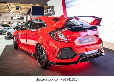 Poznan, Poland, April 06-09, 2017: MOTOR SHOW, International Car Fair: Honda Civic Type R - shiny modern auto