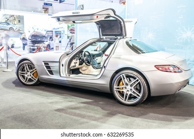 Poznan, Poland, April 06-09, 2017: MOTOR SHOW, International Car Fair: glossy and shiny AMG Mercedes SLS vehicles produced by the Mercedes-Benz company